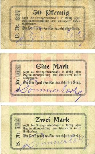 1.1.1915 DEUTSCHLAND - NOTGELDSCHEINE (1914-1923) A - J Grätz (Grodzisk Wielkopolski, Pologne). Kreisausschuss. Billets. 50 pf, 1mk, 2 mark n.d. - 1.1.1915 3 billets, B, TB, ss+