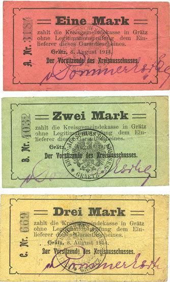8.8.1914 DEUTSCHLAND - NOTGELDSCHEINE (1914-1923) A - J Grätz (Grodzisk Wielkopolski, Pologne). Kreisausschuss. Billets. 1, 2, 3 mark 8.8.1914 3 billets, ss, TB+, TB