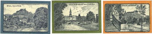 1.1.1921 DEUTSCHLAND - NOTGELDSCHEINE (1914-1923) A - J Greiz. Bank für Handel und Industrie. Série de 3 billets. 10, 25, 50 pfennig 1.1.1921 Série de 3 billets neufs