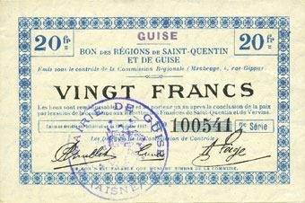1917-10-17 FRANZÖSISCHE NOTSCHEINE Guise (02). Ville. Billet. S.Q.G., 20 francs 17.10.1917, 2e série vz+