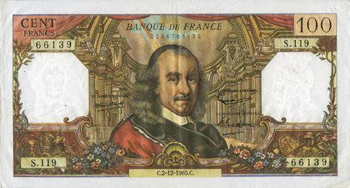 2.12.1965 BANKNOTEN DER BANQUE DE FRANCE Banque de France. Billet. 100 francs, Corneille, 2.12.1965 vz / ss+