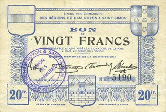 FRANZÖSISCHE NOTSCHEINE Ham, Noyon & Saint-Simon (80). Union des Communes. Billet. 20 francs ss-vz