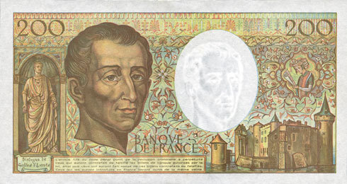 1992 BANKNOTEN DER BANQUE DE FRANCE Banque de France. Billet. 200 francs (Montesquieu), 1992 vz+