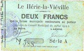 23.5.1915 FRANZÖSISCHE NOTSCHEINE Le Hérie-la-Viéville (02). Commune. Billet. 2 francs 23.5.1915, série A Rousseurs, s