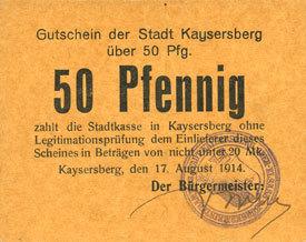 17 août 1917 FRANZÖSISCHE NOTSCHEINE Kaysersberg (68). Ville. Billet. 50 pfennig 17 août 1917, annulation par cachet