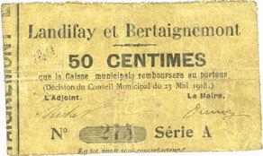 23.5.1915 FRANZÖSISCHE NOTSCHEINE Landifay et Bertaignemont (02). Billet. 50 centimes 23.5.1915, série A s+ / s
