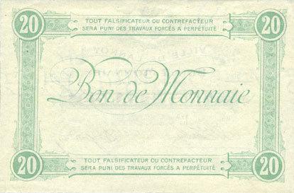 FRANZÖSISCHE NOTSCHEINE Lannoy (59). Ville. Billet. 20 francs, 3e série, essai, sans numérotation. Annulation manuscrite vz+