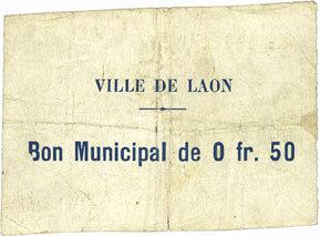30.6.1915 FRANZÖSISCHE NOTSCHEINE Laon (02). Ville. Billet. 0,50 franc 30.6.1915, 4e émission Petite déchirure (5 mm) / pli central, s+ / TB