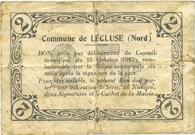 1916 FRANZÖSISCHE NOTSCHEINE Lécluse (59). Commune. Billet. 2 francs, série A, cachet 6 Fev 1916 s+ / s