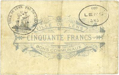 1914-11-14 FRANZÖSISCHE NOTSCHEINE Lens (62). Ville. Billet. 50 francs 14.11.1914, au revers cachet de la commune et cachet ovale... Petites déchirures / bord (3,5 et 5 mm), s+