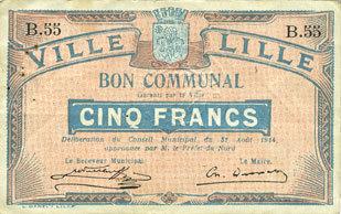 31.8.1914 FRANZÖSISCHE NOTSCHEINE Lille (59). Ville. Billet. 5 francs 31.8.1914, série B ss