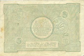 13.7.1917 FRANZÖSISCHE NOTSCHEINE Lille (59). Ville. Billet. 5 francs 13.7.1917, série T Petites taches de rousseur sinon ss
