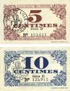 1917-10-31 FRANZÖSISCHE NOTSCHEINE Lille (59). Ville. Billets. 5 cmes, 10 cmes 31.10.1917, série D 2 billets neufs