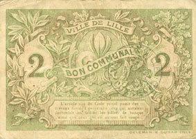 1917-12-15 FRANZÖSISCHE NOTSCHEINE Lille (59). Ville. Billet. 2 francs 15.12.1917, série D ss+