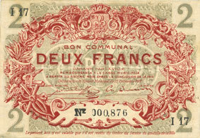 1917-12-15 FRANZÖSISCHE NOTSCHEINE Lille (59). Ville. Billet. 2 francs 15.12.1917, série I ss