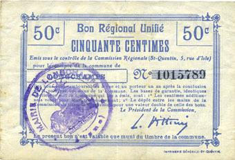 FRANZÖSISCHE NOTSCHEINE Longchamps (02). Billet. B.R.U., 50 centimes ss / s+