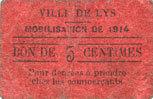 1914 FRANZÖSISCHE NOTSCHEINE Lys (59). Ville. Mobilisation de 1914. Billet. 5 centimes s+