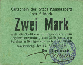 17 août 1917 FRANZÖSISCHE NOTSCHEINE Kaysersberg (68). Ville. Billet. 2 mark 17 août 1917, annulation par cachet