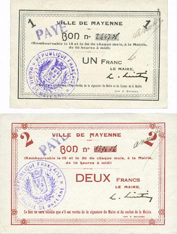 FRANZÖSISCHE NOTSCHEINE Mayenne (53). Ville. Billet. 1 franc, 2 francs. Annulation manuscrite et par cachet