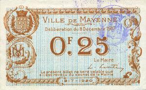 8.12.1917 FRANZÖSISCHE NOTSCHEINE Mayenne (53). Ville. Billet. 25 centimes 8.12.1917 vz