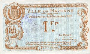 8.12.1917 FRANZÖSISCHE NOTSCHEINE Mayenne (53). Ville. Billet. 1 franc 8.12.1917 I