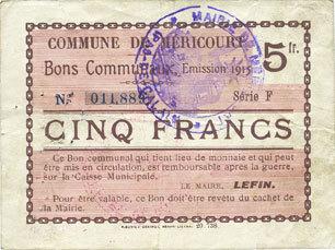 1915 FRANZÖSISCHE NOTSCHEINE Méricourt (62). Commune. Billet. 5 francs , émission 1915, série F s+