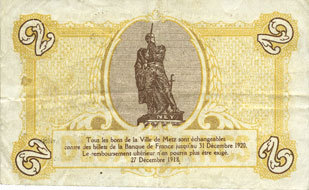 FRANZÖSISCHE NOTSCHEINE Metz (57). Ville. Billet. 2 francs Taché, s