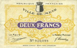 FRANZÖSISCHE NOTSCHEINE Metz (57). Ville. Billet. 2 francs Petite tache, s+