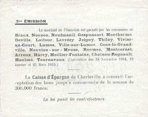 1914-11-18 FRANZÖSISCHE NOTSCHEINE Braux (08). Arrondissement de Mézières. Billet. 20 cmes, série Q, 18.11.1914 et 19.1 et 25.3.1915 ss