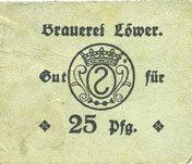 DEUTSCHLAND - NOTGELDSCHEINE (1914-1923) A - J Hassloch. Löwer Joh.. Brauerei und Weinkellerei. Billet. 25pf, cachet et signature manuscrite au do ss