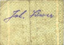 DEUTSCHLAND - NOTGELDSCHEINE (1914-1923) A - J Hassloch. Löwer Joh.. Brauerei und Weinkellerei. Billet. 20 pf, signature manuscrite au dos R ! R ! R ! Petite déchirure (5 mm), s