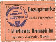 DEUTSCHLAND - NOTGELDSCHEINE (1914-1923) A - J Hassloch Gemeinde. Bon d'achat (Bezugsmarke) 1 litre d'alcool à brûler (1 Literflasche Brennspiritus ss