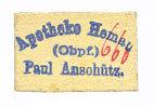 DEUTSCHLAND - NOTGELDSCHEINE (1914-1923) A - J Hemau. Anschütz Paul. Apotheke. Billet. 20 pf, carton blanc et revers crème I