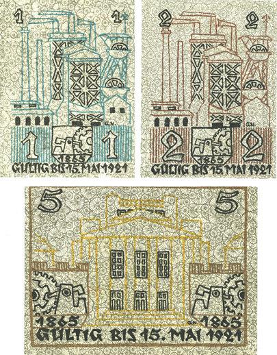 16.3.1921 DEUTSCHLAND - NOTGELDSCHEINE (1914-1923) K -Z Kattowitz (Katowice, Pologne). Stadt. Série de 3 billets. 1, 2, 5 mark 16.3.1921 Série de 3 billets neufs