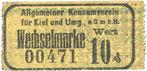 DEUTSCHLAND - NOTGELDSCHEINE (1914-1923) K -Z Kiel. Allgemeiner Konsumverein für Kiel und Umg. e.G.m.b.H. Billet. 10 pfennig vz