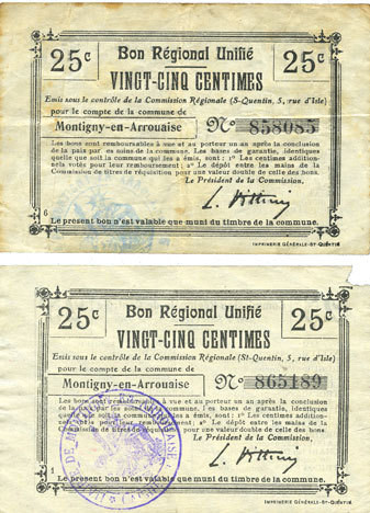 FRANZÖSISCHE NOTSCHEINE Montigny-en-Arrouaise (02). Commune. Billet. B.R.U., 25 cmes (2ex) cachet bleu et violet Manque pour 1 billet pour 1 coin, s