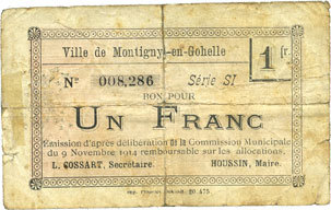 9.11.1914 FRANZÖSISCHE NOTSCHEINE Montigny-en-Gohelle (62). Ville. Billet. 1 franc 9.11.1914, n° planche 20.475, série SI Recollé, sge