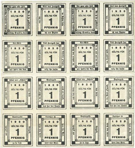 1920 DEUTSCHLAND - NOTGELDSCHEINE (1914-1923) K -Z Kitzingen. Städtische Sparkasse. Bloc de 2 séries de 8 billets. 1 pf 1920. Type sans filigrane R ! R ! vz
