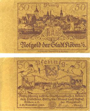 1920-12-24 DEUTSCHLAND - NOTGELDSCHEINE (1914-1923) K -Z Köben (Chobienia, Pologne). Stadt. Billet. 50 pf 24.12.1920. Impressions unifaces. Inédit ! Inédit ! ss-vz