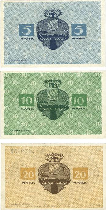 8.11.1918 DEUTSCHLAND - NOTGELDSCHEINE (1914-1923) K -Z Kitzingen. Stadt. Billets. 5 mark, 10 mark 8.11.1918 3 billets. vz+