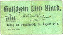 24 août 1914 DEUTSCHLAND - NOTGELDSCHEINE (1914-1923) A - J Eickel. Arthur Kronhaim. Billet. 1 mark n.d. - 24 août 1914 s+