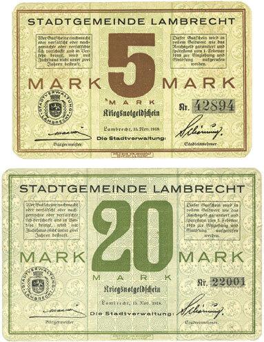1918-11-15 DEUTSCHLAND - NOTGELDSCHEINE (1914-1923) K -Z Lambrecht. Stadt. Billets. 5 mark, 20 mark 15.11.1918 2 billets neuf et spendide