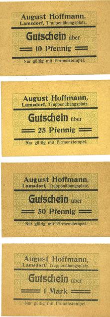 DEUTSCHLAND - NOTGELDSCHEINE (1914-1923) K -Z Lamsdorf (Lambinowice, Pologne), Hoffmann August. Billets. 10, 25, 50 pf, 1 mark 4 billets. 10 et 25 pf splendides, 50 pf et 1 mark neufs