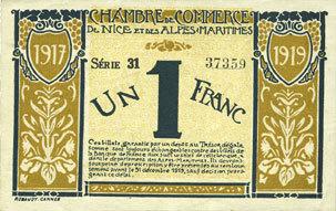 25.4.1917 FRANZÖSISCHE NOTSCHEINE Nice (06). Chambre de Commerce. Billet. 1 franc 25.4.1917, série 31 ss+