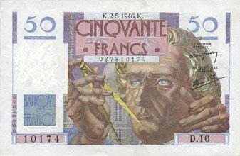 2.5.1946 BANKNOTEN DER BANQUE DE FRANCE Banque de France. Billet. 50 francs Le Verrier, 2.5.1946 vz