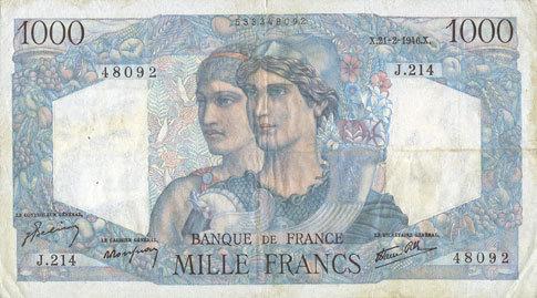 21.2.1946 BANKNOTEN DER BANQUE DE FRANCE Banque de France. Billet. 1000 francs, Minerve et Hercule, 21.2.1946 s+