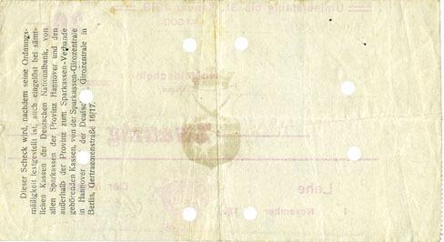 1.11.1918 DEUTSCHLAND - NOTGELDSCHEINE (1914-1923) K -Z Lehe, Stadt, billet, 20 mark 1.11.1918, annulation par perforation ss+