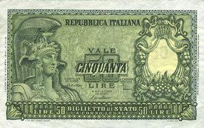1951-12-31 ANDERE AUSLÄNDISCHE SCHEINE Italie. Billet. 50 lires 31.12.1951 vz
