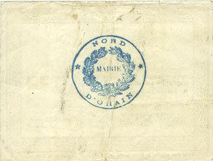 31.3.1915 FRANZÖSISCHE NOTSCHEINE Ohain (59). Commune. Billet. 2 francs 31.3.1915 Très petite déchirure sur plis central (1 mm) sinon ss