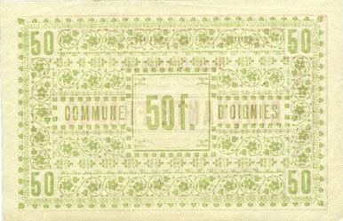 30.8.1914 FRANZÖSISCHE NOTSCHEINE Oignies (62). Commune. Billet. 50 francs 30.8.1914, spécimen vz